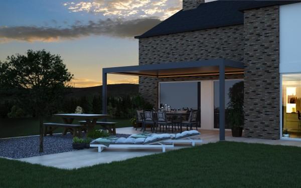 PINELA Terrassendach mit Lamellendach und Alu- Unterkonstruktion