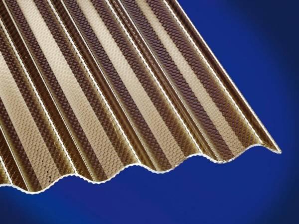 Highlux® Acrylglas-Profilplatte (Plexiglas®-Rohmasse), 3mm Stark, Sinus 76/18, bronce, Wabenstruktur