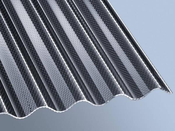 Acrylglas-Profilplatte 3mm Stark, Sinus 76/18, graphit, Wabe