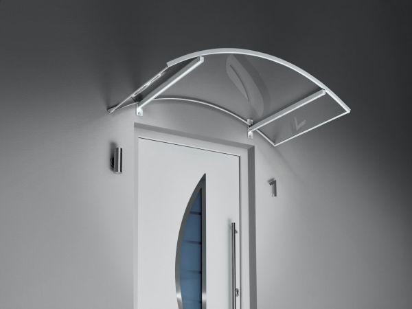 Bogenvordach mit LED Beleuchtung, weiß / Edelstahl