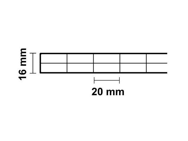 Polycarbonat ECO Stegplatte 16mm Steg 3-Fach klar 16//20//3 ECO 1200mm x 6000mm
