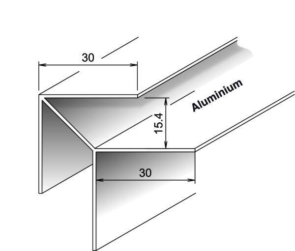 Außeneckprofil Aluminium für Kömapan® Nut- und Federprofile