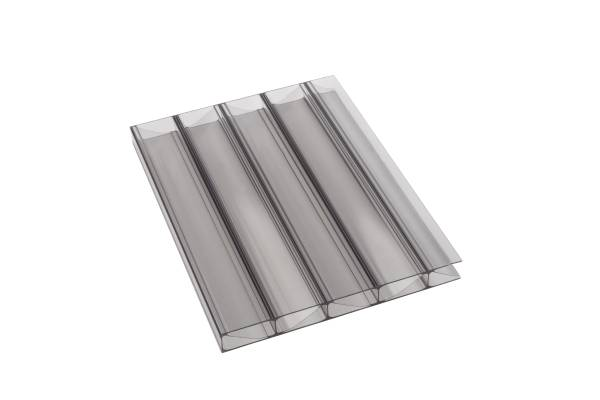 Stegplatte aus Polycarbonat, 16mm stark, graphit, Steg 2 Fach, 16/32/W Premium Longlife Qualität